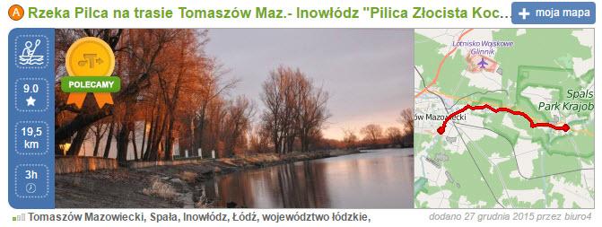 trasy spływu rzeką Pilicą